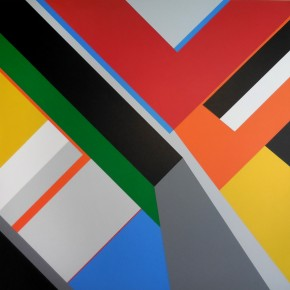 A geometric abstract painting by artist Bryce Hudson
