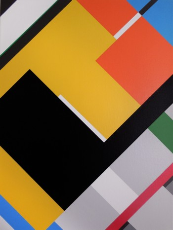 An abstract geometric painting by artist Bryce Hudson
