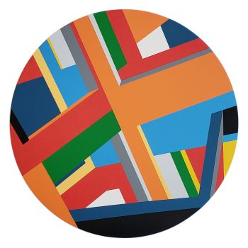 An abstract Geometric Painting, Tondo by artist Bryce Hudson